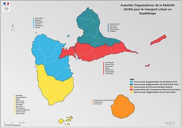 Autorités organisatrices de la mobilité (AOM) pour le transport urbain en Guadeloupe. Voir descriptif détaillé ci-après