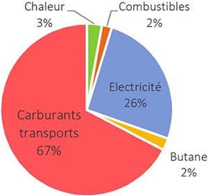 Répartition de la consommation d'énergie finale en 2017. Voir descriptif détaillé ci-après