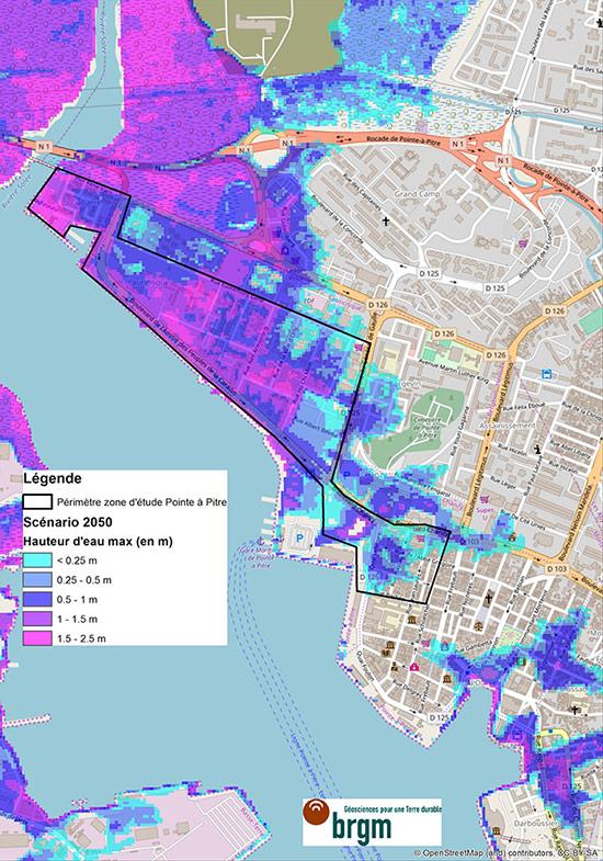 Carte de la submersion marine sur la zone d'étude de Pointe-à-Pitre pour le scénario à horizon 2050. Voir descriptif détaillé ci-après